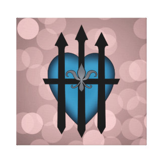 Guarded heart blue on pink gallery wrapped canvas