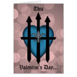 Guarded heart blue on pink greeting cards