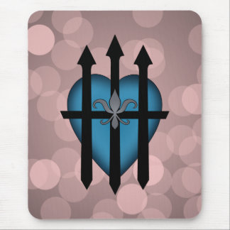 Guarded heart blue on pink mouse pad