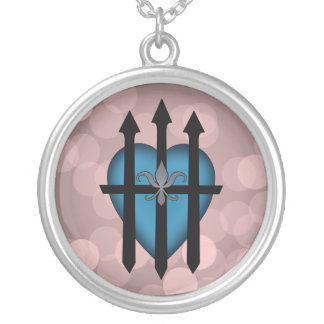 Guarded heart blue on pink jewelry