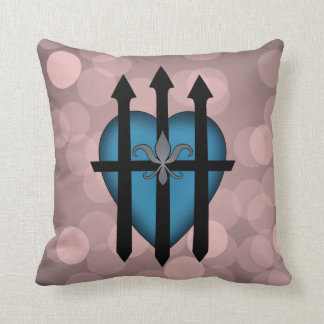 Guarded heart blue on pink throw pillows