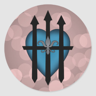 Guarded heart blue on pink round sticker