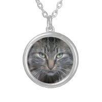 Guarded Maine Coon Kitty Cat Round Pendant Necklace