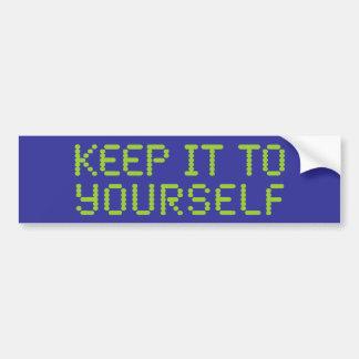 Guárdelo a sí mismo etiqueta de parachoque