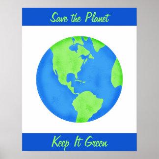 Guárdelo arte verde de la pared del ambiente de la poster