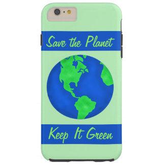 Guárdelo arte verde del ambiente de la tierra de funda resistente iPhone 6 plus