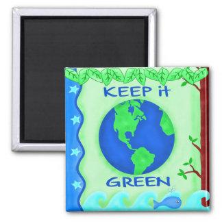 Guárdelo arte verde del ambiente de la tierra de imán cuadrado