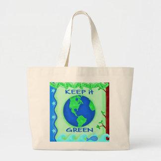 Guárdelo arte verde del ambiente de la tierra de l bolsa tela grande