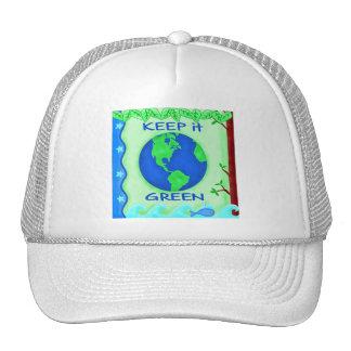 Guárdelo arte verde del ambiente de la tierra de l gorras de camionero