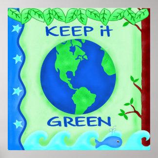 Guárdelo arte verde del ambiente de la tierra de l impresiones