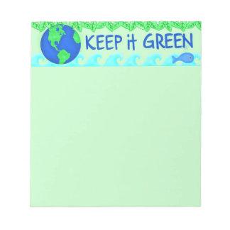 Guárdelo arte verde del ambiente de la tierra de libreta para notas