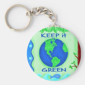 Guárdelo arte verde del ambiente de la tierra de llaveros