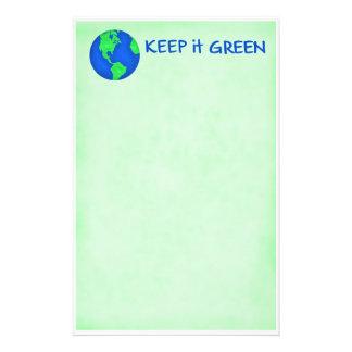Guárdelo arte verde del ambiente de la tierra de papelería personalizada