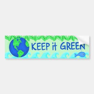 Guárdelo arte verde del ambiente de la tierra de pegatina para auto