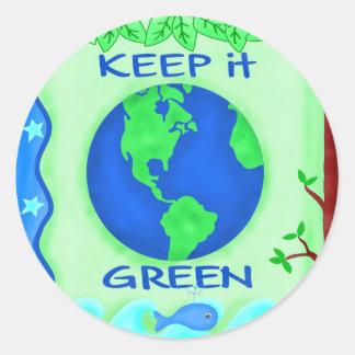 Guárdelo arte verde del ambiente de la tierra de pegatina redonda