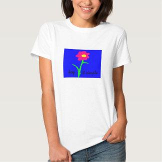 Guárdelo camiseta simple con la flor brillante de poleras
