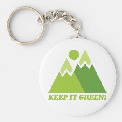 Guárdelo las montañas verdes llavero personalizado
