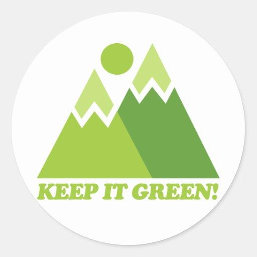Guárdelo las montañas verdes pegatina redonda