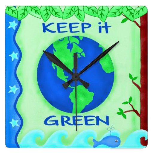 Guárdelo reloj de la tierra verde