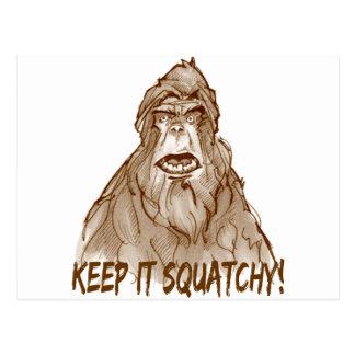 GUÁRDELO SQUATCHY - favorable Squatch cabeza de Bi Tarjeta Postal