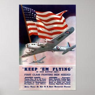 Guárdelos vuelo -- Cuerpo de aire de WWII Póster