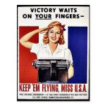 Guárdelos vuelo, Srta. los E.E.U.U. Tarjeta Postal
