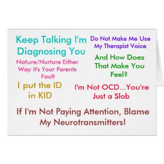 Guárdeme el hablar le están diagnosticando tarjeta de felicitación