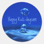 Guardería feliz de los niños pegatinas redondas