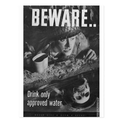 Guárdese… Beba solamente el agua aprobada Postal