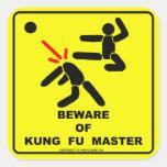 Guárdese de amo del fu del kung calcomanía cuadradas personalizada