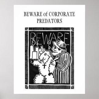 Guárdese de depredadores corporativos póster