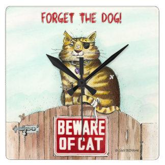Guárdese de gato reloj cuadrado