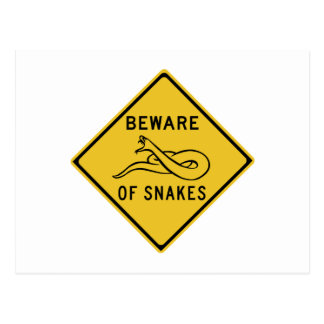 Guárdese de las serpientes, señal de peligro del postales