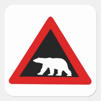 Guárdese de los osos polares, señal de tráfico, pegatina cuadrada