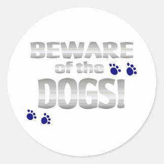 ¡Guárdese de los perros! con las impresiones Pegatina Redonda