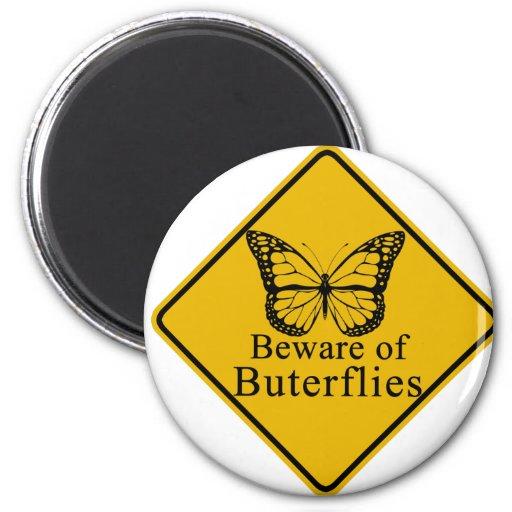 Guárdese de mariposas imán redondo 5 cm