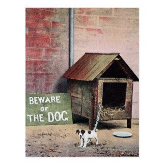 Guárdese de muestra del perro con el pequeño perro postal