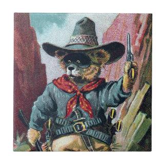Guárdese de oso del bandido con el pañuelo azulejo cuadrado pequeño
