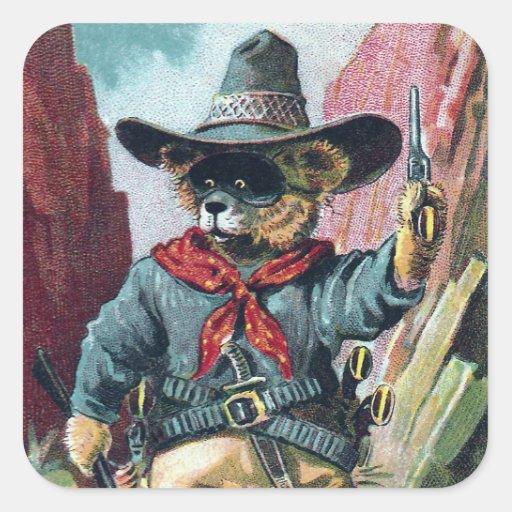 Guárdese de oso del bandido con el pañuelo pegatina cuadrada