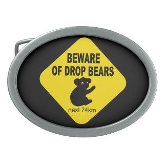 Guárdese de osos del descenso. Leyenda australiana Hebillas De Cinturon Ovales