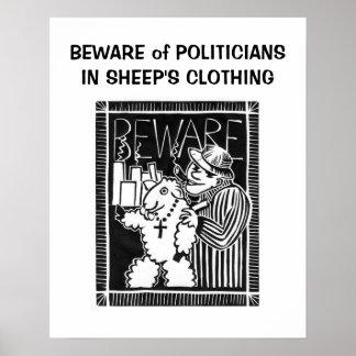Guárdese de políticos en la ropa de la oveja póster