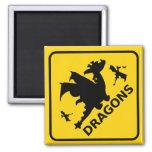 Guárdese de señal de peligro de los dragones imán cuadrado