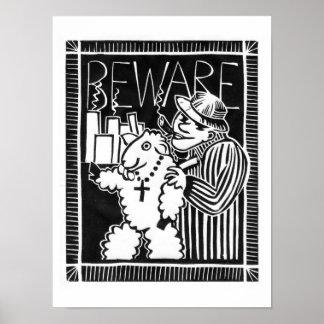 Guárdese de sociedades en la ropa de la oveja póster