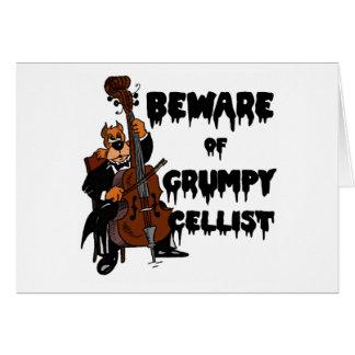 Guárdese de violoncelista gruñón tarjeta de felicitación