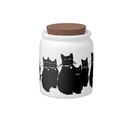 Guárdese del gato negro jarra para caramelo