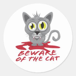 Guárdese del gato etiquetas redondas
