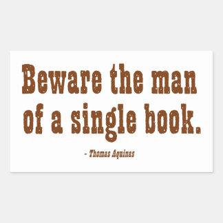 Guárdese del hombre de un solo libro pegatina rectangular