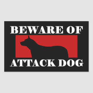 Guárdese del perro de ataque - perro australiano d rectangular pegatinas