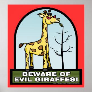 Guárdese del poster malvado de las jirafas póster
