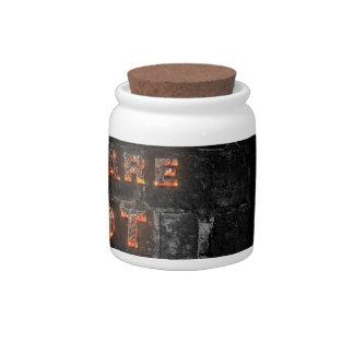Guárdese del texto caliente con las letras del ped jarras para caramelos